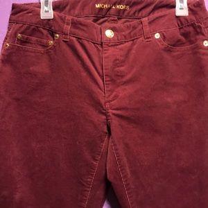 Michael Kors  6 Skinny Pants Maroon Corduroy